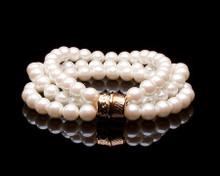 Cream/Champagne Pearl Three Strand Bracelet Gold Clasp