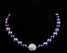 Formal Deep Purple Color Pearl Necklace with Rhinestones