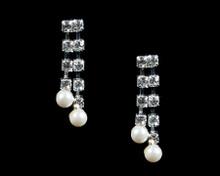 Rhinestone Earrings with Dangling White Pearls