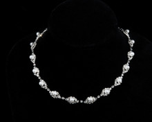 Sparkling Crystal Necklace with Pearl Accents on Silver