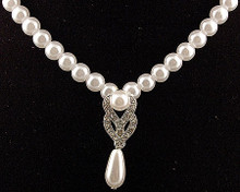 Silver and White Pearl Necklace with Antique Silver & Drop