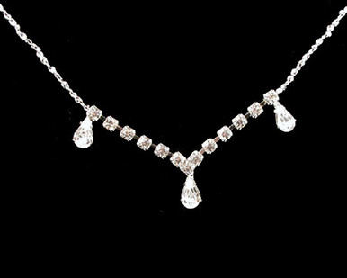 Clear jewelry necklace earring set Brides/Clear Crystal Drop