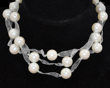 White Pearl and ribbon necklace