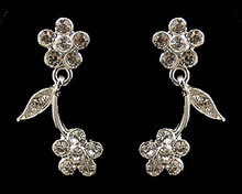 Silver Flower Fantasy Earrings with Rhinestones