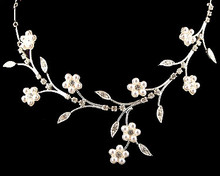 White Pearl Flower Fantasy Necklace with Rhinestones