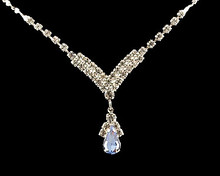 Light Blue and Rhinestone V drop Necklace (slate blue)