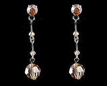 Gold/Citrine/Light Amber Crystal Drop Earrings with Dark Chain