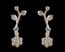 Clear Crystal and Silver Flower Earrings