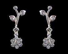 Light Blue Crystal Flower  Earrings