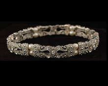 Small Ornate Silver Bracelet with Pearls