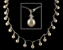 Dangling Off-White Pearl, Silver and Crystal necklace (Cream)
