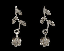 White Pearl and Crystal Flower  Earrings