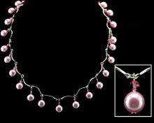 Bright Pink Pearl and Crystal necklace