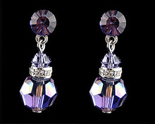 Amethyst crystal dangle earrings  (purple)