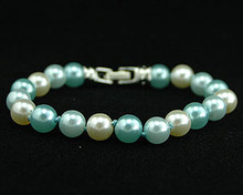 Light Blue, Aqua and White Pearl Bracelet