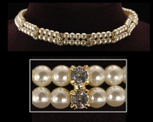 Double Strand Ivory Pearl, Gold and Crystal Choker Necklace