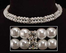 Double Strand White Pearl, Silver and Crystal Choker Necklace