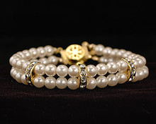 Double Strand Ivory Pearl & Gold Bracelet with Crystals & Flower