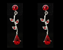 Red Crystal Pear and Leaf Earrings