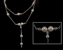 Double Strand of White Pearl and Clear Beads on a Silver Chain N