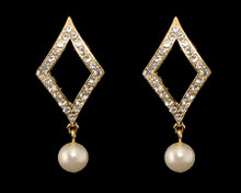 Ivory Pearl and Crystal on Gold Diamond Shape Earring