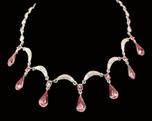 Large Pink Tear Drop Crystal Necklace on Silver