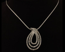 Multi Row Tear Drop Necklace in Silver