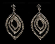 Diamond Shaped Earring - 3 Tiers with Crystals