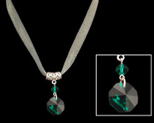 Emerald (green) Crystal on Necklace with Silver
