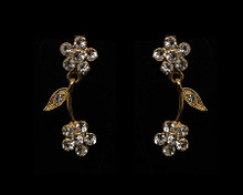 Gold Flower Fantasy Earrings with Rhinestone