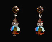 Brown Crystal Earrings with Silver (Medium)