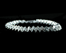 Tennis Bracelet Look With Clear Crystals on Silver