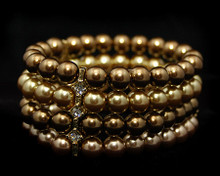 Light Gold, Bronze, Taupe (brown) Pearl Bracelet with Rhinestone