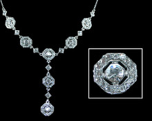 Clear Crystal Octagons on Silver Y - Necklace