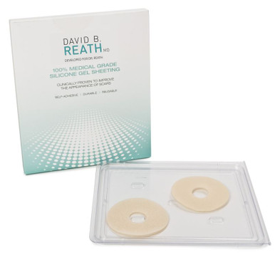 Donut areolar silicone strips for breast scar management that Dr. Reath recommends.