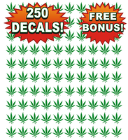 Bulk Wholesale Lot 250 Pot Leaf Decals, Stickers