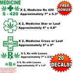 Bulk Wholesale Lot of 20 Medical Marijuana Pot Decals, Stickers, Weed, Medicine, 420