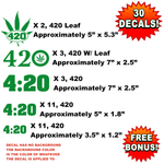 Bulk Wholesale Lot of 30 / 420 Four Twenty, Pot Decals, Stickers, Weed, Marijuana