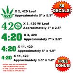 Bulk Wholesale Lot of 30 / 420 Four Twenty, Pot Decals, Stickers, Weed, Marijuana