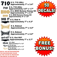 Bulk Wholesale Lot of 50 BHO, OIL, 710, DAB, DABOUT, Pot Decals, Weed, Marijuana