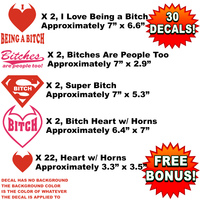 Bulk Wholesale Lot of 30 Bitch Pride Decals, Stickers, Funny, Super Hearts with Horns