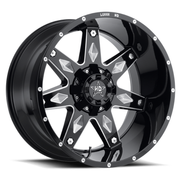 Luxxx HD Off-Road® LUX HD 9 Wheels Rims 20x9 8x170 Gloss Black Milled -12  | LHD92098170-12GBKMIL