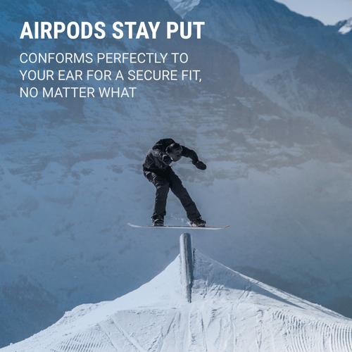 Image 1: AirPods Stay Put - Conforms perfectly to your ear for a secure fit, no matter what.