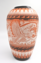 Large Benally Pottery Vase Hand Etched  Hand Painting Eagle