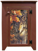 "Shown in Old Burgundy with ""Wolf in Leaves"" print"