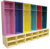 Lockers shown in Pink, Purple, Yellow, Aqua, Coral, and Emerald. Benches in Old Baby Yellow