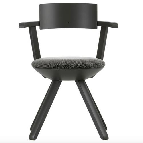 Legs and armrest: birch, asphalt lacquer Seat shell: polypropylene, asphalt Seat: 3D-knit, black / white
