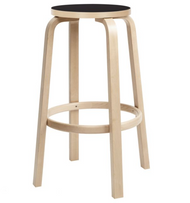 Bar Stool 64, 75cm Legs, seat edge-band and foot ring: birch, clear lacquer Seat: linoleum, black