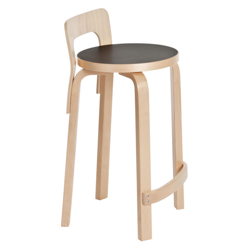 Legs, seat edge-band, backrest, and foot rest: birch, clear lacquer Seat: linoleum, black