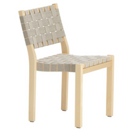 Frame: birch, clear lacquer Seat and backrest: linen, natural/black webbing